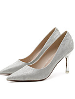 cheap -Women's Wedding Shoes Pumps Pointed Toe Casual Daily Walking Shoes Synthetics Solid Colored Champagne Silver