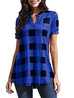 cheap -Womens T-Shirt Tops Sale Casual V-Neck Plaid Printed Short Sleeve Irregular Hem Loose Tee Shirt Tunic Blouses(Blue , 14)