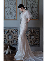 cheap -Mermaid / Trumpet Sparkle Elegant Engagement Formal Evening Dress Illusion Neck Short Sleeve Court Train Sequined with Sequin 2021