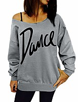 cheap -Womens Casual Tops Blouse T-Shirt Dance Letter Long Sleeve Slash Neck Loose Tunics Pullovers Sweater(Gray, 14)