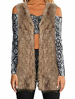 cheap -Women Warm Thickening Coat Jacket Faux Fur Fox Mink Parka Outwear Cardigan Vest(Brown,Small)