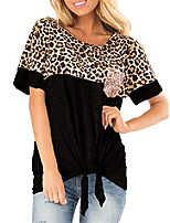 cheap -Women's Casual Short Sleeve Leopard Print T Shirt Front Tie Twist Knotted Sequin Chest Pocket Blouse Top A-Black