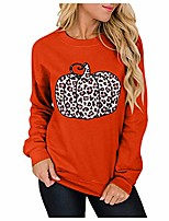cheap -Women's Leopard Print Long-Sleeved Sweatshirt Casual Blouse Patchwork Pullover Casual Round Neck Blouse (Orange, S)