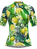 cheap -Women's Short Sleeve Cycling Jersey Green Floral Botanical Fruit Bike Top Mountain Bike MTB Road Bike Cycling Breathable Quick Dry Sports Clothing Apparel / Stretchy / Athleisure