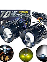 cheap -2pcs/set Motorcycles Headlight lamp CSP LED Laser Lens light Lamp Spotlight Auxiliary Light Hi and low Emit White and Yellow 12v-80v