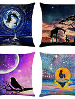 cheap -Cushion Cover 4PCS Linen Soft Decorative Square Throw Pillow Cover Cushion Case Pillowcase for Sofa Bedroom 45 x 45 cm (18 x 18 Inch) Superior Quality Machine Washable