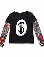 cheap -Kids Boys' T shirt Tee Graphic 3D Letter Print Long Sleeve Active Basic Black