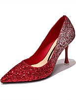 cheap -Women's Wedding Shoes Pumps Pointed Toe Casual Daily Walking Shoes Gleit Solid Colored Red Champagne Silver
