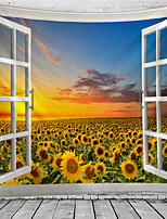 cheap -Window Landscape Wall Tapestry Art Decor Blanket Curtain Hanging Home Bedroom Living Room Decoration Garden Sunflower Sunset Pastoral
