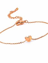 cheap -J Initial Anklet for Women Teen Girls Rose Gold Plated Link Ankle Bracelet 316L Stainless Steel, Tiny Dainty Letter Monogram Heart Jewelry, Gifts for Girlfriend Wife Summer Beach Wear
