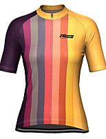 cheap -21Grams Women's Short Sleeve Cycling Jersey Yellow Stripes Bike Top Mountain Bike MTB Road Bike Cycling Breathable Quick Dry Sports Clothing Apparel / Stretchy / Athleisure