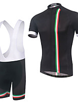 cheap -Men's Short Sleeve Cycling Jersey with Bib Shorts Elastane Black Bike Sports Clothing Apparel
