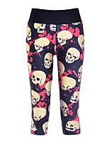 cheap -Women's Basic High-Waisted Comfort Casual Daily Skinny Leggings Pants Skull Calf-Length Patchwork Print Rainbow