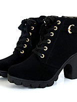cheap -women girl high top heel ankle boots winter pumps lace up buckle suede shoes
