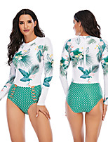 cheap -Women's One Piece Swimsuit Rash Guard Elastane Swimwear Breathable Quick Dry Long Sleeve Back Zip - Swimming Surfing Water Sports Painting Autumn / Fall Spring Summer