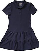 cheap -School Uniform Girls Ruffled Pique Polo Dress, Navy, Small (6/6X)