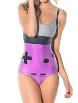 cheap -Women's New Fashion Lady Monokini Swimsuit Color Block Letter Tummy Control Open Back Slim Bodysuit Normal Strap Swimwear Bathing Suits Purple / One Piece / Party / Print