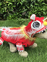 cheap -Dog Cat Outfits Holiday Decorations Dog clothes Lion Animal Fashion Chinoiserie Cute Casual / Daily Spring Festival Dog Clothes Puppy Clothes Dog Outfits Breathable Red Costume for Girl and Boy Dog