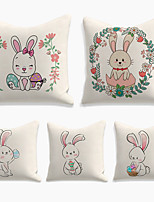 cheap -Happy Easter Cushion Cover 5PC Linen Soft Decorative Square Throw Pillow Cover Cushion Case Pillowcase for Sofa Bedroom 45 x 45 cm (18 x 18 Inch) Superior Quality Machine Washable