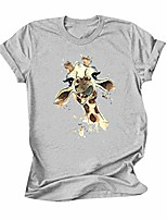 cheap -Women's Summer Tops Giraffe Print O Neck Short Sleeve Comfy Crew Neck Tops T-Shirt Loose Fitting Graphic Tee Tops Gray