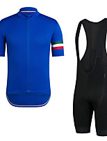 cheap -Men's Short Sleeve Cycling Jersey with Bib Shorts Elastane Blue Bike Sports Clothing Apparel