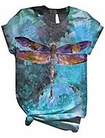 cheap -Womens Dog Dragonfly Shirt 2020 Casual Loose Fit Graphic Halloween Xmas Tshirts Short Sleeve Tops Tees Plus Size.S-4XL Blue