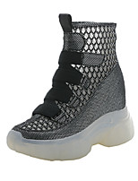 cheap -Women's Boots Chunky Heel Round Toe Booties Ankle Boots Classic Daily Mesh Synthetics Solid Colored White Black / Booties / Ankle Boots