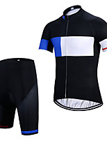 cheap -Men's Short Sleeve Cycling Jersey with Shorts Elastane Black Bike Sports Clothing Apparel