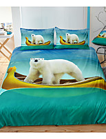 cheap -Bear Print 3-Piece Duvet Cover Set Hotel Bedding Sets Comforter Cover with Soft Lightweight Microfiber, Include 1 Duvet Cover, 2 Pillowcases for Double/Queen/King(1 Pillowcase for Twin/Single)