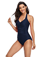 cheap -Women's New Classic Sweet Romper Swimsuit Solid Color Stripe Racerback Open Back Print Padded Normal Strap Swimwear Bathing Suits Black Blue Red / One Piece / Tattoo