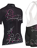 cheap -21Grams Women's Short Sleeve Cycling Jersey with Bib Shorts Black Bike Breathable Sports Graphic Mountain Bike MTB Road Bike Cycling Clothing Apparel / Stretchy / Athletic