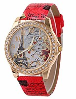 cheap -wholesale pu leather strap watch mother day gift bling rhinestone accented eiffel tower ladies women watches (red)
