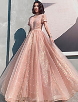 cheap -A-Line Beautiful Back Sparkle Engagement Formal Evening Dress Illusion Neck Short Sleeve Floor Length Tulle with Pleats Pearls Pattern / Print 2021