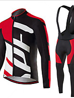 cheap -Men's Long Sleeve Cycling Jersey with Bib Tights Winter Elastane Red / White Black / Red Black / White Bike Sports Clothing Apparel
