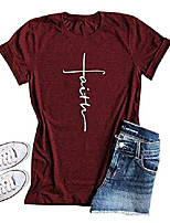 cheap -Women's Cross Faith Christian Womens T Shirts Graphic Tee Summer Cotton Tops