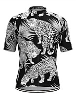 cheap -Men's Short Sleeve Cycling Jersey Black Leopard Bike Top Mountain Bike MTB Road Bike Cycling Breathable Sports Clothing Apparel / Stretchy / Athletic