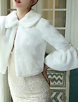 cheap -3/4 Length Sleeve Coats / Jackets / Capes Faux Fur Wedding / Party / Evening Shawl & Wrap / Women's Wrap With Fur