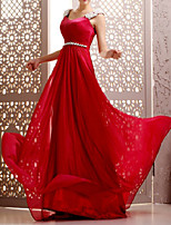 cheap -A-Line Cut Out Elegant Wedding Guest Formal Evening Dress Scoop Neck Sleeveless Court Train Chiffon with Sash / Ribbon Beading 2020