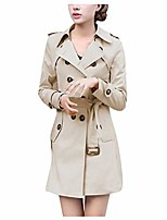 cheap -Women's Solid Color Others Casual Spring & Summer Coat Long Casual / Daily Polyester Coat Tops Wine Red