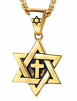 cheap -Seal of Solomon Pendant Necklace Stainless Steel David Star Medal Necklace Male Chain