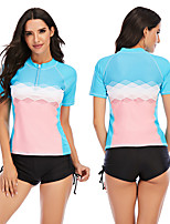 cheap -Women's Rash Guard Dive Skin Suit Elastane Swimwear Breathable Quick Dry Short Sleeve 2 Piece Front Zip - Swimming Surfing Water Sports Painting Autumn / Fall Spring Summer