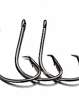 cheap -100pcs Super Strong High Carbon Steel Offset Circle Hooks 7381 Black Nickel Octopus Barbed Fishing Hooks for Saltwater (2/0#)
