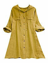 cheap -Plus Size Cotton Linen Lattice Splice Button Shirt,Womens Loose Hooded Drawstring Tops Blouse with Pocket (Yellow,Large)