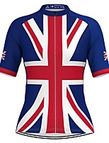 cheap -Women's Short Sleeve Cycling Jersey Red+Blue National Flag Bike Top Mountain Bike MTB Road Bike Cycling Breathable Quick Dry Sports Clothing Apparel / Stretchy / Athleisure