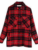 cheap -Women Plaid Jackets CoatLadies Collar Wool Blend Coats Long Sleeve Autumn Winter Warm Jackets Female Outwear