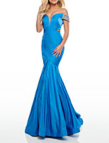 cheap -Mermaid / Trumpet Beautiful Back Sexy Engagement Formal Evening Dress Off Shoulder Sleeveless Sweep / Brush Train Stretch Satin with Pleats 2021