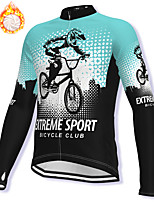cheap -21Grams Men's Long Sleeve Cycling Jacket Winter Fleece Spandex Sky Blue Bike Jacket Mountain Bike MTB Road Bike Cycling Fleece Lining Warm Sports Clothing Apparel / Stretchy / Athleisure