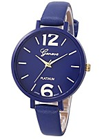 cheap -casual geneva women faux leather analog quartz wrist watch (deep blue)