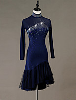 cheap -Latin Dance Dress Cascading Ruffles Crystals / Rhinestones Women's Training Performance Long Sleeve Natural Elastane Tulle
