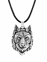 cheap -nordic pendant necklace viking wolf head necklace punk jewelry wolf head hip hop charm (xl002)